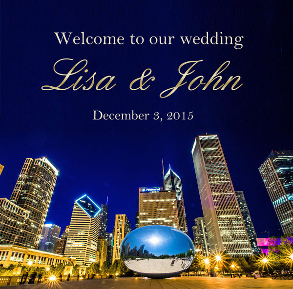 Chicago Bean n skyline wedding welcome bag label