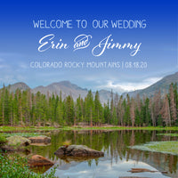 Rocky Mountain floral Colorado wedding welcome bag label