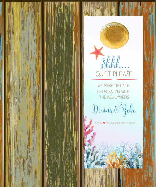 (sku411) Ocean coral | do not disturb sign | wedding door hanger | party favors - Best Welcome Bags