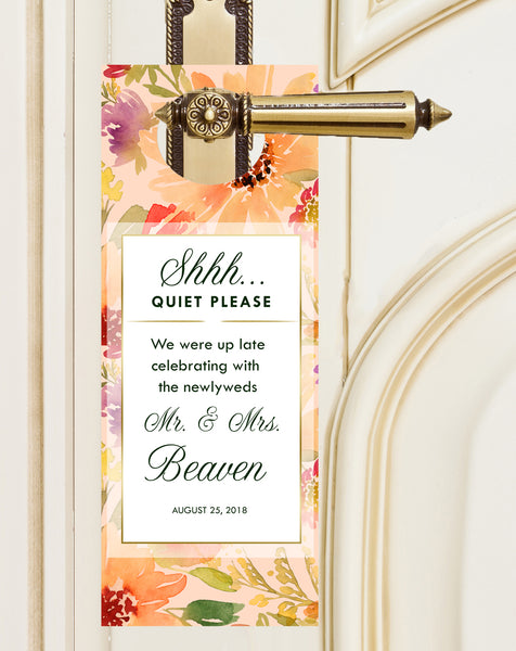 (sku072) do not disturb sign | wedding door hanger | summer wedding | floral party favor - Best Welcome Bags