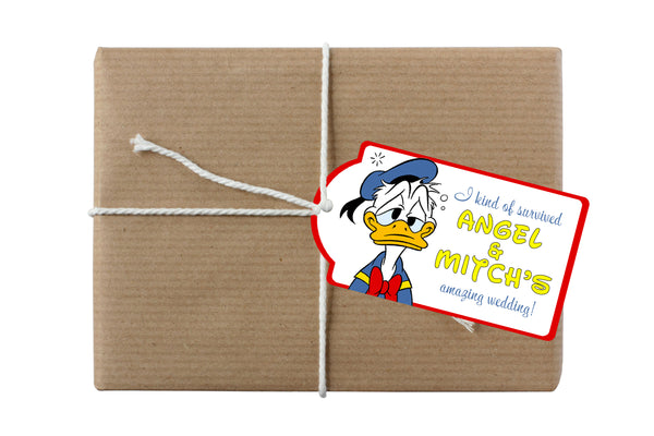 (sku659) Donald Duck gift bag hang tags | survival kit label | hangover kit tag - Best Welcome Bags
