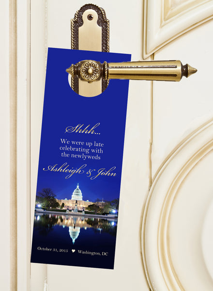 (sku530) Washington DC wedding favor | do-not-disturb signs | door hanger | hotel door - Best Welcome Bags