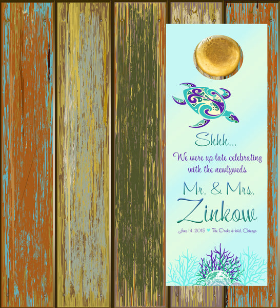 (sku438) Sea turtle | do not disturb sign | beach wedding door hanger | beach party favor - Best Welcome Bags
