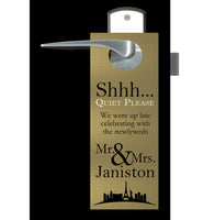 (sku534) Las Vegas wedding | do not disturb sign | door hanger | Gold or silver | party favor - Best Welcome Bags