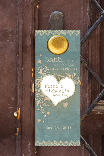 rustic sage n lace door hanger 4  hotel guest wedding favor