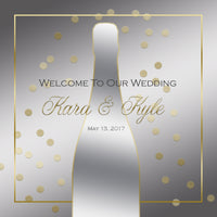 Silver n Gold champagne wedding welcome bag labels