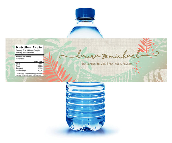(sku420) Rustic palm | water bottle labels | beach wedding | beach party bottle stickers - Best Welcome Bags