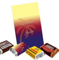 (sku454a) Sunset palm tree | Hershey mini chocolate wrapper | mini candy labels | - Best Welcome Bags