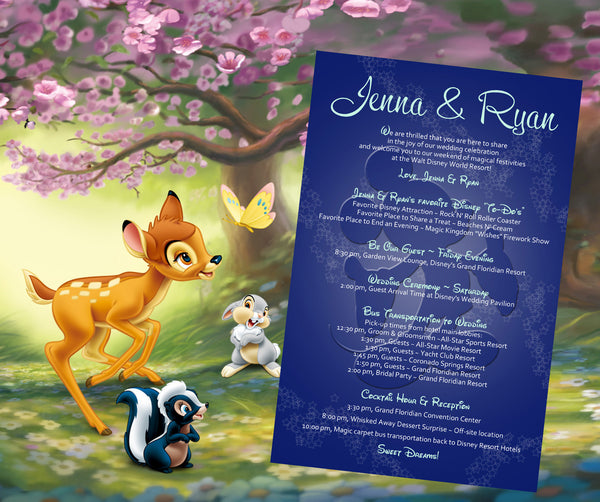 Mickey Mouse wedding itinerary welcome letter program invitation