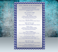 (sku194) Any color chevron custom printed stationery | wedding itinerary | welcome note