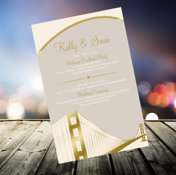 (sku494) San Francisco printed stationery | wedding itinerary | party invitation | welcome note - Best Welcome Bags