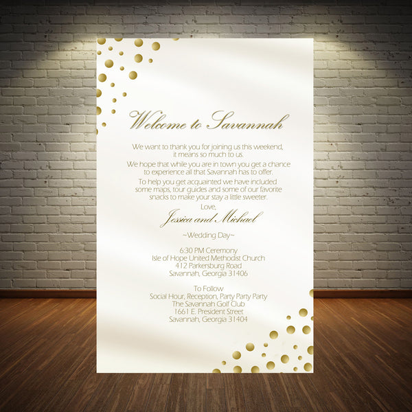 (sku184) Gold dots printed stationery | wedding itinerary | welcome note | party invitation - Best Welcome Bags