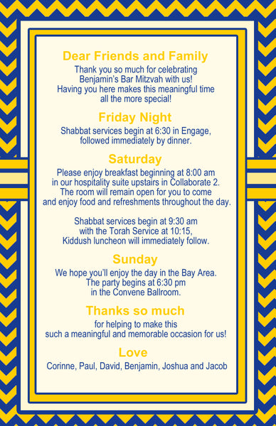 pick color 4 bar mitzvah welcome letter itinerary program invite