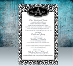 (sku147) black damask wedding stationery | monogram | itinerary | welcome note - Best Welcome Bags