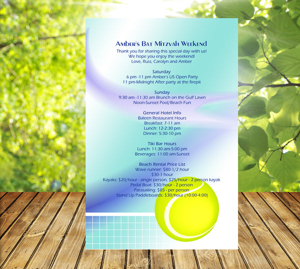 tennis stationary for invitation birthday bat mitzvah sweet 16 quince