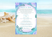 blue palm stationary | beach party invitation | destination wedding itinerary - Best Welcome Bags