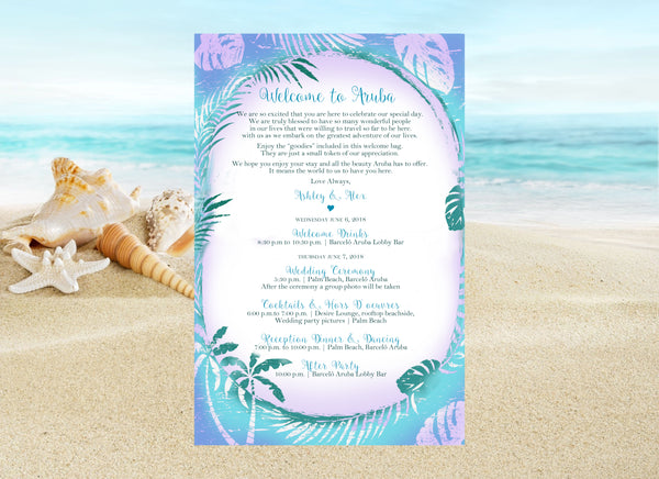 (sku468) blue palm printed stationary | beach party invitation | destination wedding itinerary