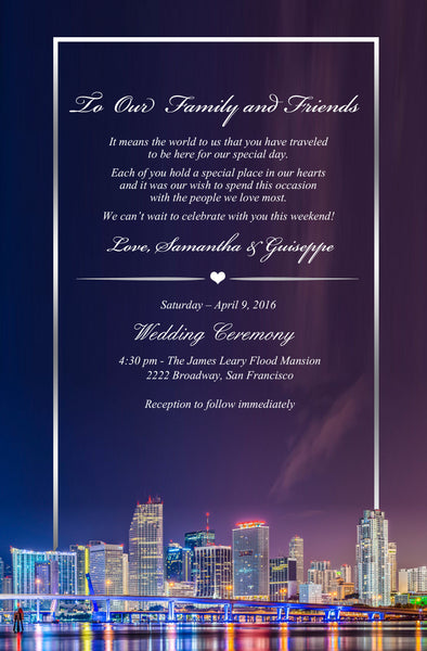 (sku517) Miami stationary | Florida wedding itinerary | Miami Beach party invitation - Best Welcome Bags