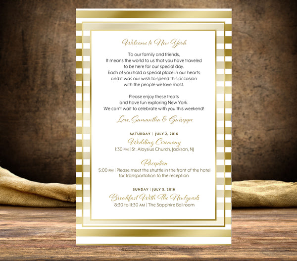 (sku164) Custom printed gold stripe stationery | wedding itinerary | party invitation - Best Welcome Bags