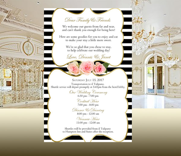 black stripe wedding itinerary, ceremony program, or reception menu