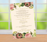 blush floral on ivory wedding itinerary, ceremony program, menu