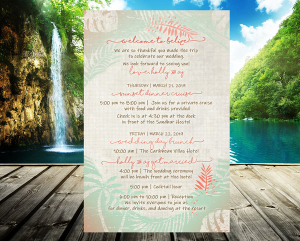 (sku417) rustic palm stationery | wedding itinerary | beach party invitation | welcome note - Best Welcome Bags