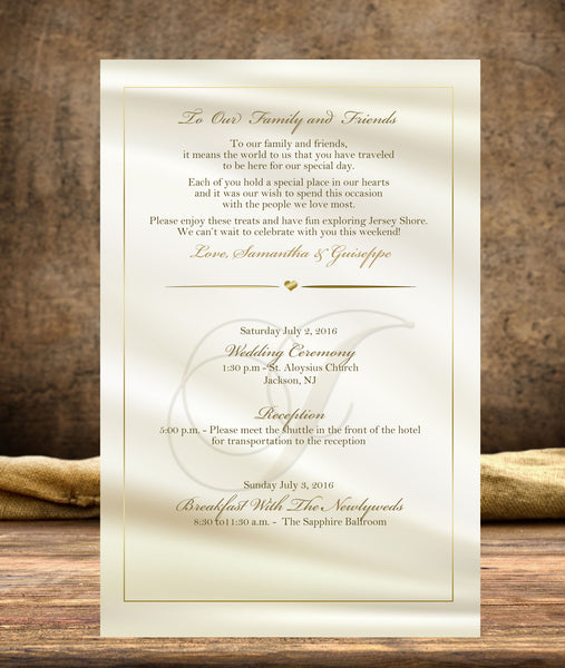 (sku233) Custom monogram ivory + gold stationery | wedding itinerary | party invitation - Best Welcome Bags