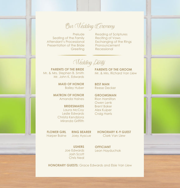 simple gold text on ivory wedding itinerary, ceremony program