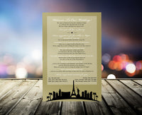 gold or silver Las Vegas wedding itinerary welcome letter invite