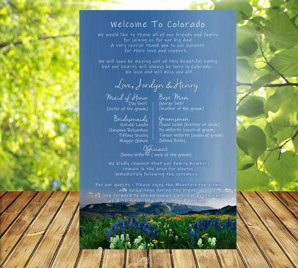 (sku503) Colorado Rocky Mountain wedding stationery | itinerary | welcome note | invitation - Best Welcome Bags