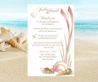 gold pink seashell wedding itinerary ceremony program welcome