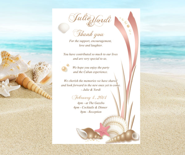 gold + pink seashell wedding itinerary | program | welcome note