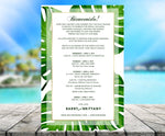 monstera palm printed stationery | wedding itinerary | beach party invitation