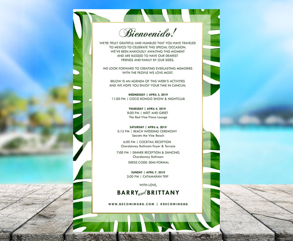 (sku459) Giant palm leaf | printed stationery | wedding itinerary | beach party invitation - Best Welcome Bags