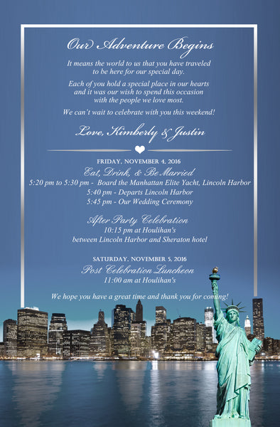 4 options NY New York wedding itinerary welcome letter invite