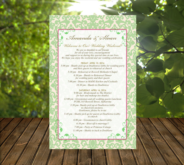 pale green on ivory wedding itinerary ceremony program