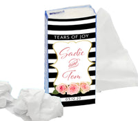 (sku099) Black stripe Kleenex wrapper | Wedding pocket tissue label | Kleenex sticker - Best Welcome Bags