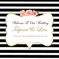 (sku101) Black stripe wedding welcome bag label | hotel guest wedding favor bag sticker - Best Welcome Bags