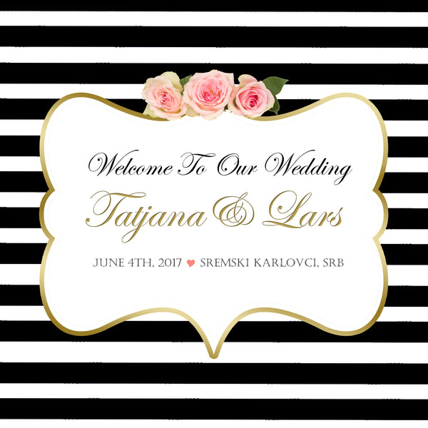 (sku101) Custom black stripe wedding welcome bag labels | Gable box stickers - Best Welcome Bags