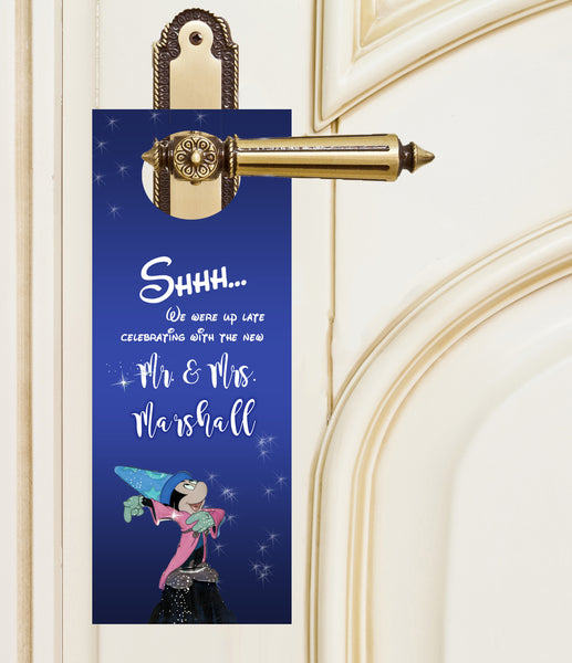 Mickey Sorcerers Apprentice do not disturb wedding door hanger