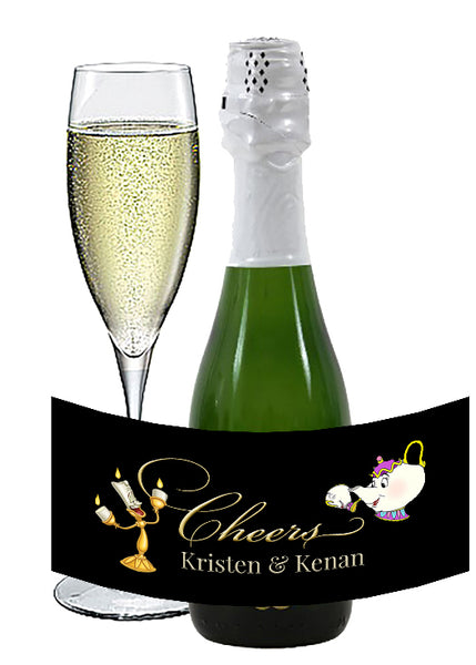 (sku617a) Beauty and the Beast mini wine bottle labels | mini champagne bottle stickers - Best Welcome Bags