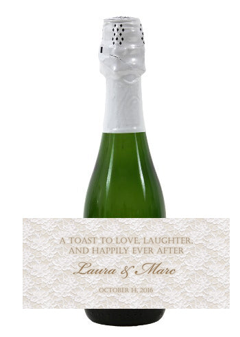 (sku284) gold n lace mini wine, champagne label 4 hotel guest welcome bag, wedding favor, reception
