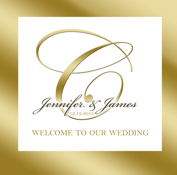 gold ink frame n monogram wedding welcome bag label