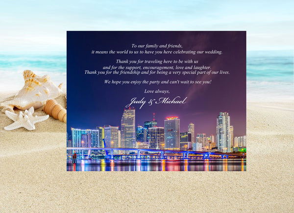 (sku518) printed Miami note card | party invitation | welcome note | wedding itinerary - Best Welcome Bags