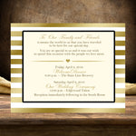 gold stripe flat welcome or thank you note for wedding guest bag