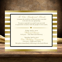 (sku165) Custom printed gold stripe flat note card | wedding welcome note | menu - Best Welcome Bags