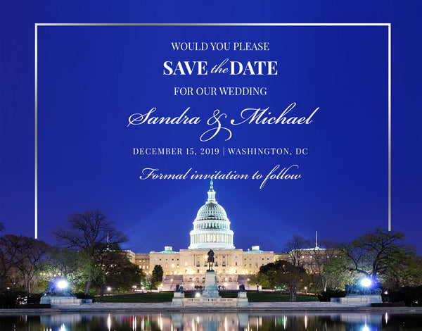 (sku527) Washington DC printed note card | party invitation | wedding welcome note
