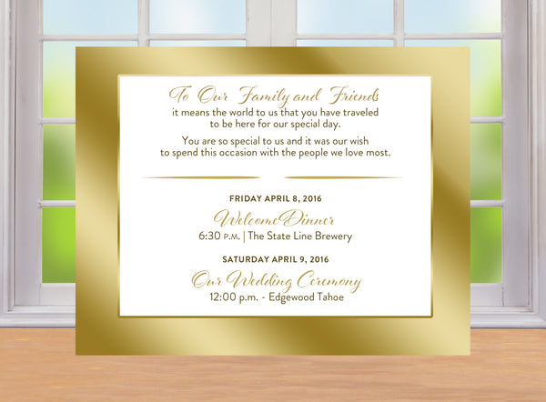 (sku130) gold border printed note card | RSVP | wedding welcome note | party invitation - Best Welcome Bags
