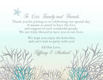 silver + teal ocean coral welcome note | thank you card | invitation