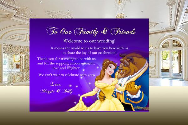 (sku614a) Beauty + the Beast | custom flat note card | wedding welcome note | thank-you - Best Welcome Bags